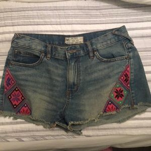 Free people denim shorts with embroidery